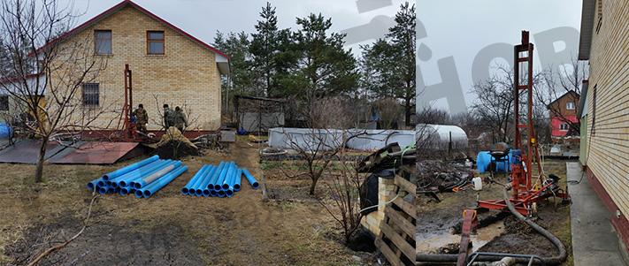 Процесс гидробурения в Воронеже малогабаритной буровой установкой (МГБУ)