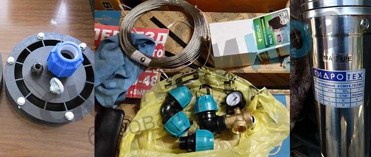 Оборудование для скважины: оголовок, трос, муфты, насос